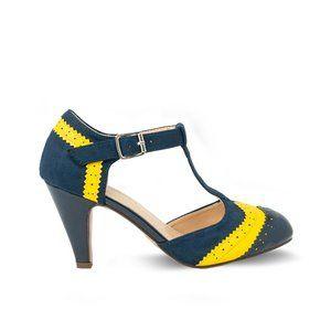 Navy/Yellow T-Strap Two Tone Women's Retro Heels